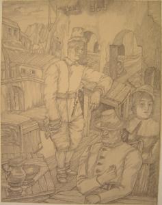 Contribution. 1941. P., pencil. 29х22.
