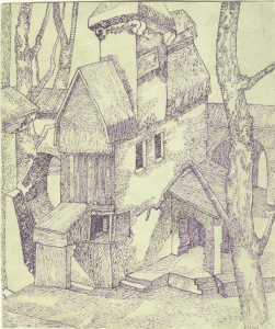 Old Tower. 1941. P., ink. 15х13.