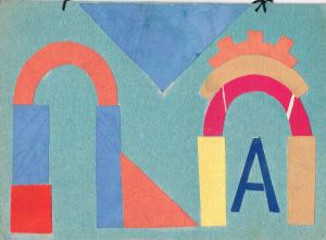 "Alphabet. The letter ""A"". The end of 1960s-early 1970s. Color paper, color cardboard, glue."