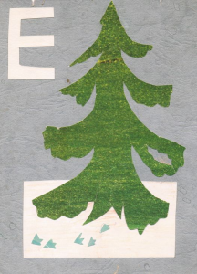 "Alphabet. The letter ""E"". The end of 1960s-early 1970s. Color paper, color cardboard, glue."