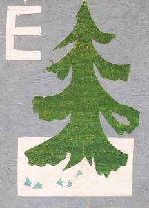 """Алфавит. Буква """"Е"""". Конец 1960-х-нач.1970-х. Цв. б., цв. картон."""