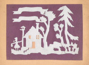 Лесной домик. Конец 1960-х-нач.1970-х. Цв. б., цв. картон.