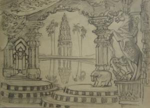 Scenery for a play. P., graphite pencil. 29,4х41,5.
