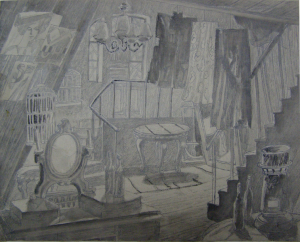 Sketch for a movie. P., graphite pencil, ink, brush. 24x30.