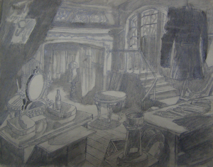 Sketch for a movie. P., graphite pencil, ink, brush. 25,8x33.
