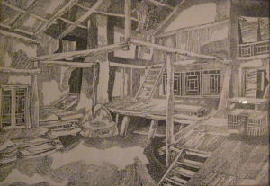Sketch for a movie. The patio. 1957. P., ink, pen. 52x60.