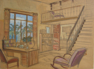 Sketch for a movie. Cardboard, oil. 32,3х44.