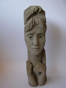 A woman's head. 1960's. 39 cm. Pumice