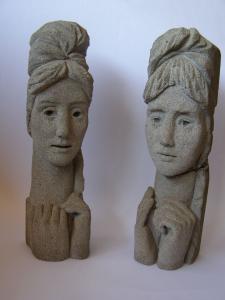 Woman's heads. 1960's. 39 cm. Pumice