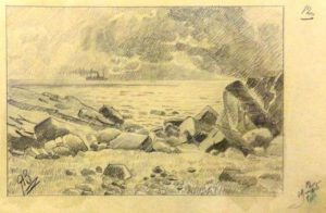 Морской берег. 1905. Лист из походного альбома Я.Я. Зальцмана. Графитный карандаш.