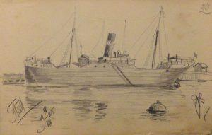 Корабль в гавани. 1905. Лист из походного альбома Я.Я. Зальцмана. Графитный карандаш.