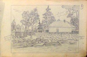 Мазанка. 1905. Лист из походного альбома Я.Я. Зальцмана. Графитный карандаш.