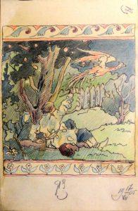 """Сцена из """"Конька-горбунка"""". 1905. Лист из походного альбома Я.Я. Зальцмана. Цветной и графитный карандаш."""