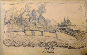 Сельский пейзаж. 1905. Лист из походного альбома Я.Я. Зальцмана. Графитный карандаш.