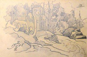 Лес. 1905. Лист из походного альбома Я.Я. Зальцмана. Графитный карандаш.
