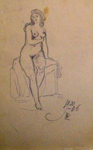 Обнажённая. 1906. Лист из походного альбома Я.Я. Зальцмана. Графитный карандаш.