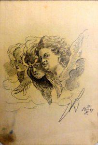 Херувимы. 1909. Лист из походного альбома Я.Я. Зальцмана. Графитный карандаш.