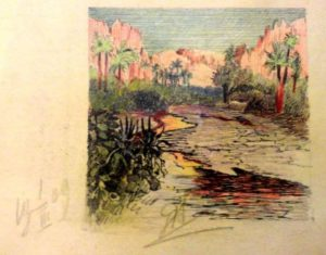 Тропический пейзаж. 1909. Лист из походного альбома Я.Я. Зальцмана. Цветной карандаш.