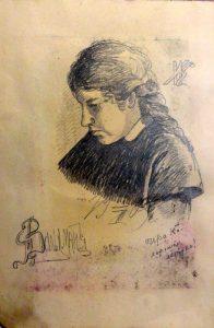 Ира К. 1909. Лист из походного альбома Я.Я. Зальцмана. Графитный карандаш.