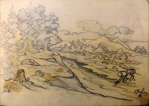 Пейзаж. 1909. Лист из походного альбома Я.Я. Зальцмана. Графитный карандаш.