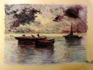 Лодки. Штиль. 1909. Лист из походного альбома Я.Я. Зальцмана. Пастель.