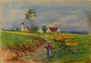 Западноевропейский пейзаж. 1909. Лист из походного альбома Я.Я. Зальцмана. Пастель.