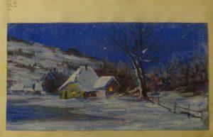 Село в снегу. 1909. Лист из походного альбома Я.Я. Зальцмана. Пастель.