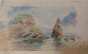 Озеро в горах. 1910-е. Бум., акварель.
