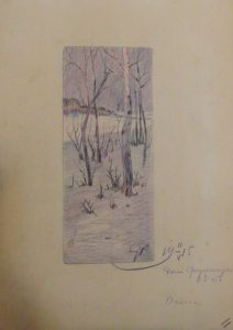 Дача под Одессой. Зима. 1915. Бум., цветной карандаш.