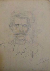 Автопортрет. 1915. Бум., графитный карандаш.