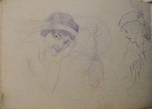 Женские головки. 1915. Бум., графитный карандаш.