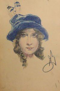 Женская голова. 1915. Бум., пастель.