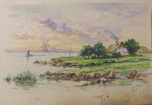 Пейзаж с мельницами. 1915. Бум., акварель.