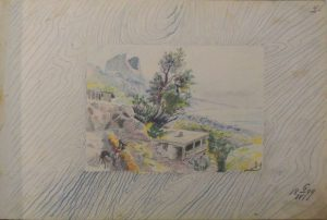 Лист из походного альбома Я.Я. Зальцмана. 1899. Графитный карандаш, пастель.