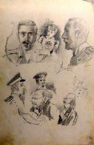 Портреты сослуживцев. Крит. 1899. Из походного альбома Я.Я. Зальцмана.Графитный карандаш.