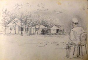 Дачи и сидящий офицер. Из походного альбома Я.Я. Зальцмана. 1899. Графитный карандаш.