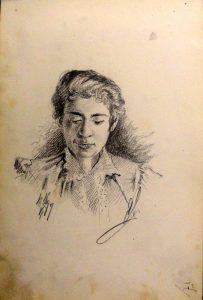 Женский портрет. 1899. Из походного альбома Я.Я. Зальцмана.Графитный карандаш.