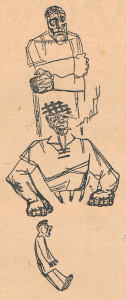 """Инвалиды. Иллюстрация к рассказу """"Без головы"""" А. Санаева. 1931."""