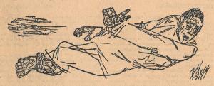 """Лежащий мужик. Иллюстрация к рассказу """"Елайский медведь"""" С. Галышева. 1930."""
