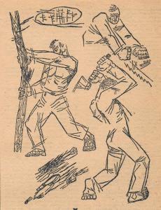 "Lumbering. The Elian bear. S. Galyshev. ""Rezets"" magazine. 1930."