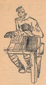 Читающий мужик. Иллюстрация для журнала. 1930-1932.