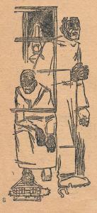 """Иллюстрация к рассказу """"Корни"""" А. Пришлого. Опубл. в журнале """"Резец"""", 1930-1932."""