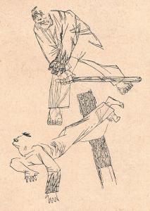 """Драка. Иллюстрация к рассказу """"Месть"""" Д. Мазурова. Опубл. 1930-1932."""