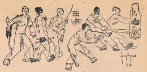 """Рабочие. Иллюстрация к рассказу """"Сказка о великане"""" Б. Илеша. Опубл. 1931."""