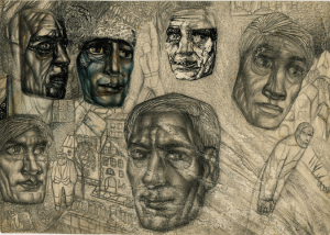 Heads in Filonov's style. Beginning of 1930's. P., pencil, color pencil, ink. 17x24.