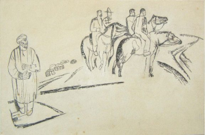 "Басмачи. Эскиз иллюстрации. Б., тушь, перо. 14х21,5. Опубл. в журнале ""Перелом"", 1932."