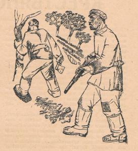 """Засада. Иллюстрация к рассказу """"Два жука"""" Н. Воронина. Б., тушь, перо. 13х19,2. Опубл. в журнале """"Перелом"""", №4, 1932."""