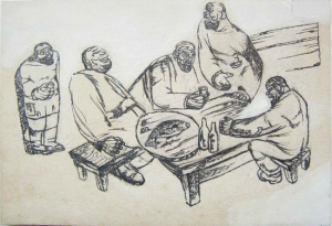 """The Tableful. """"Perelom"""" magazine. 1932. P., ink, pen. 13x19,2."""