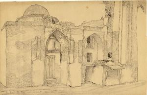 Мечеть у старого базара. 1938. Б., кар., тушь, перо. 17х28.