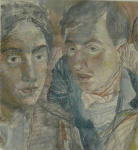 Two (with autoportrait) 1939-1943. P., watercolors, 31x29. N.Turdukulov's collection.